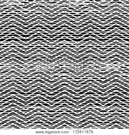 Vector geometric seamless pattern with zigzag lines and stripes in black and white. Striped modern bold print in 1980s style for summer fall fashion. Abstract dynamic techno chevron background