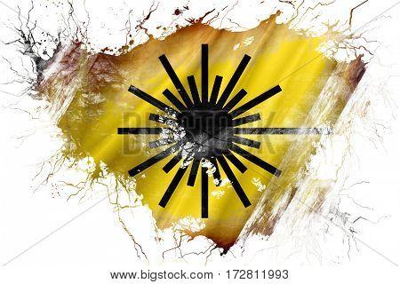 Grunge old Laser warning symbol flag