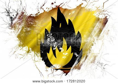 Grunge old Flammable hazard sign flag