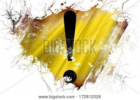 Grunge old Hazard warning sign flag