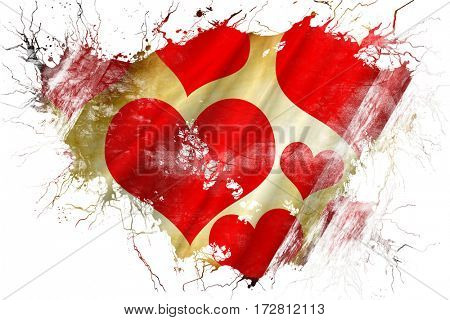 Grunge old Romantic hearts background flag