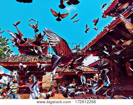 Pigeons fly over the old town square. Pigeons flock flying up from the ground. Romantic image of old town Kathmandu. Sunny day in Nepal capitol city center. Flying pigeons in vibrant painting style