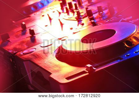 Dj mixer in nightclub, closeup