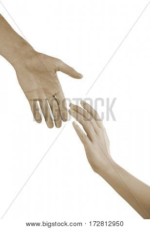 Male and female hands toned in sepia on white background