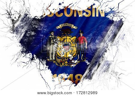 Grunge old wisconsin flag