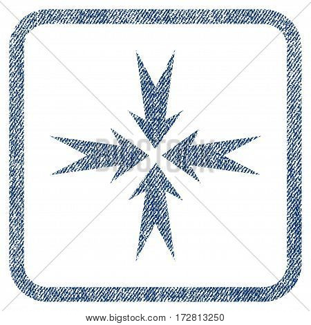 Compression Arrows vector textured icon for overlay watermark stamps. Blue jeans fabric vectorized texture. Symbol with dirty design inside rounded rectangle.