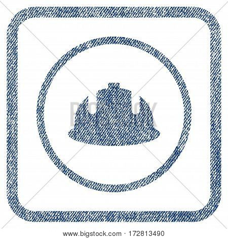 Construction Helmet vector textured icon for overlay watermark stamps. Blue jeans fabric vectorized texture. Symbol with dust design inside rounded rectangle.