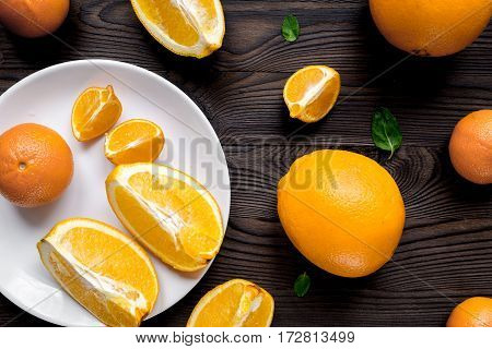 healthy fitness breakfast with fresh orange on wooden table background top view