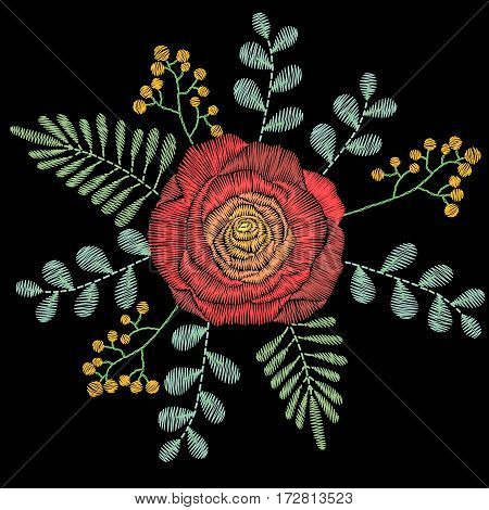 Embroidery stitches with spring flowers, wildflowers, rose, grass, branches. Vector fashion ornament on black background for textile, fabric traditional folk floral decoration.