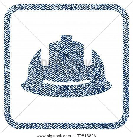 Construction Helmet vector textured icon for overlay watermark stamps. Blue jeans fabric vectorized texture. Symbol with dirty design inside rounded rectangular frame.