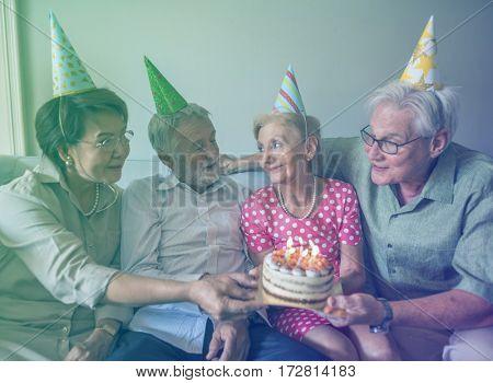 Photo Gradient Style with Senior Life Celebration Cake Birthday