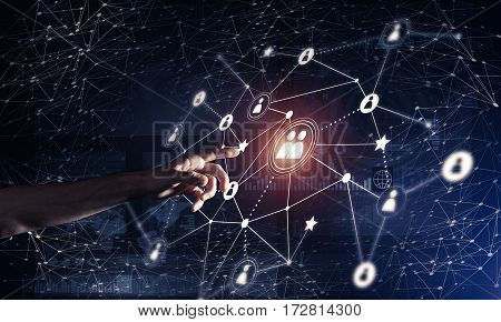 Background conceptual image with social connection lines on dark backdrop.