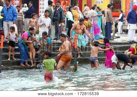 HARIDVAR, INDIA - JAN 14, 2009: During celebrations Makar Sankranti. Festival is celebrated in various parts of India to observe the day which marks the shift of the sun into ever-lengthening days.