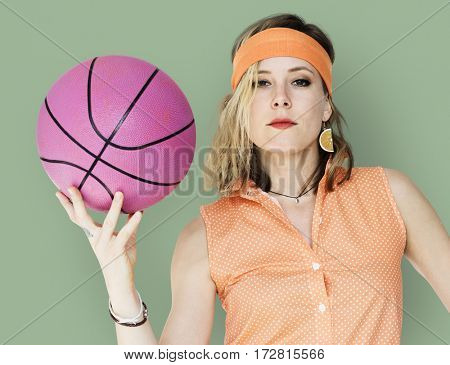 Caucasian Blonde Woman Holding Basketball