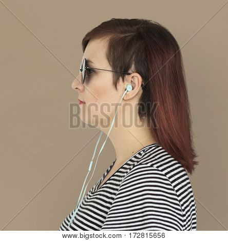 Woman Earphones Music Entertainment Studio Portrait