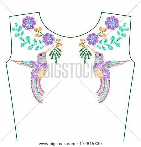 Embroidery stitches with hummingbird, wild spring flowers for neckline. Vector fashion ornament for textile, fabric traditional folk decoration.