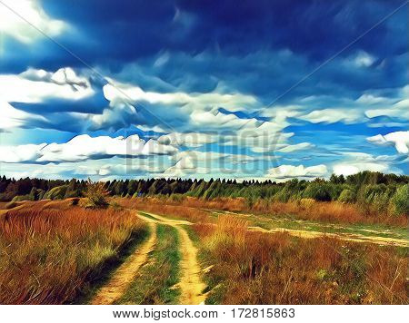 Rural field with dirt road during sunset. Autumn landscape in vibrant palette. Wheat field with track. Wheel mark on agriculture land. Field and sky digital illustration. Seasonal fall banner template
