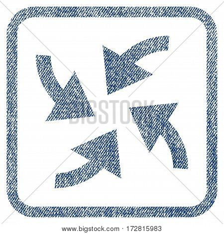 Cyclone Arrows vector textured icon for overlay watermark stamps. Blue jeans fabric vectorized texture. Symbol with scratched design inside rounded rectangular frame.