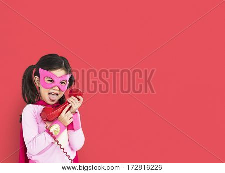 Superhero Girl Smiling Happiness Telephone Communication Portrait