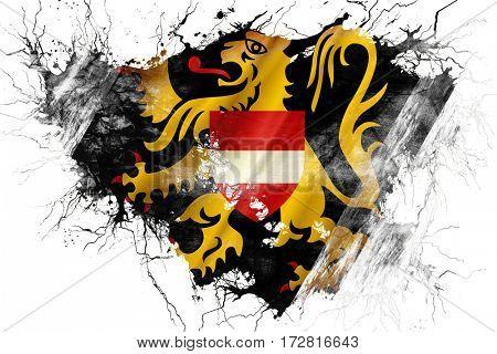 Grunge old flemish brabant, vlaams brabant flag
