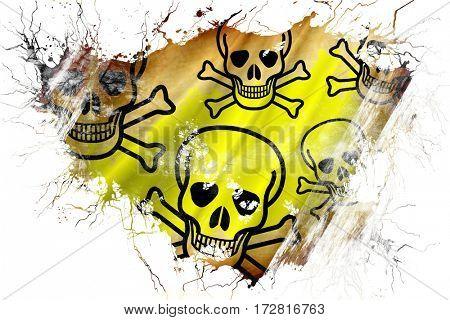 Grunge old Poison sign background flag