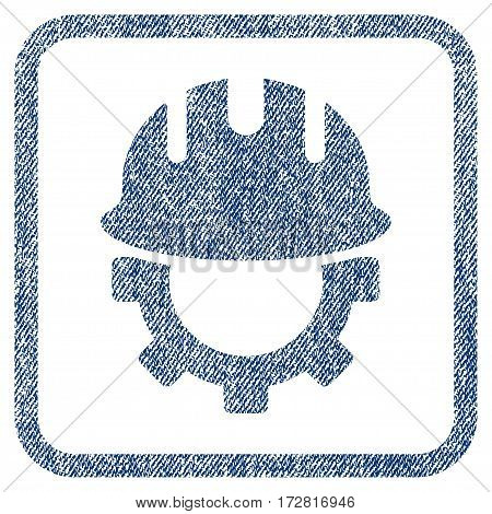 Development Hardhat vector textured icon for overlay watermark stamps. Blue jeans fabric vectorized texture. Symbol with dust design inside rounded rectangle.