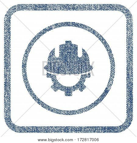 Development Helmet vector textured icon for overlay watermark stamps. Blue jeans fabric vectorized texture. Symbol with scratched design inside rounded rectangular frame.