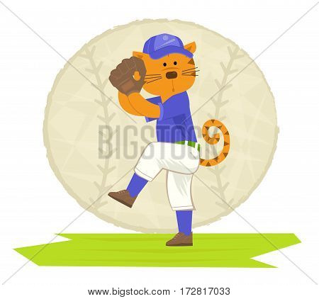 Clip art of a cat playing baseball. Eps10