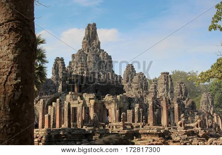 Bayon temple. the ancient stone temple. Bayon is one of the UNESCO world heritage at Angkor in Cambodia.
