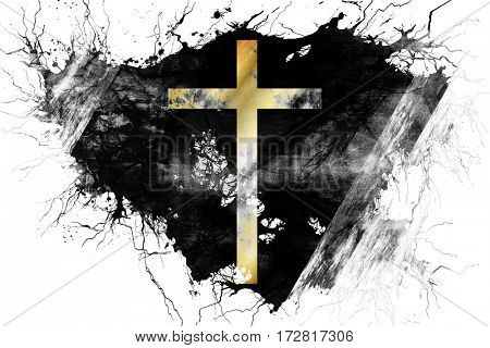 Grunge old Christian cross flag