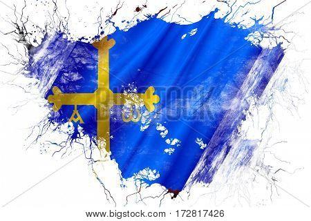 Grunge old Asturias flag
