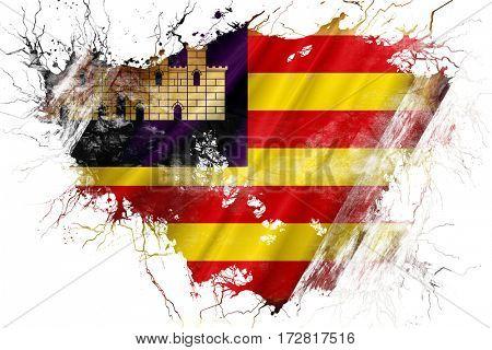Grunge old Balearic islands, iles baleares flag