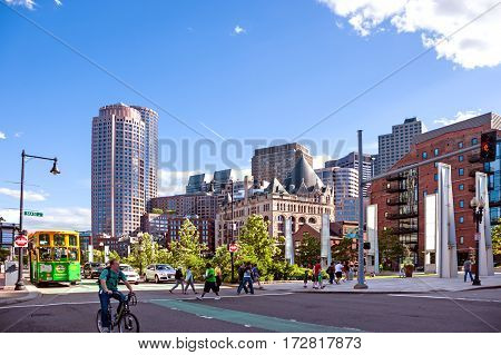 Boston, USA - June 21, 2014: Street scene in the Boston downtown