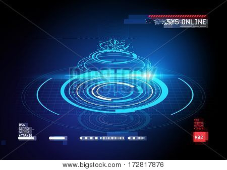 technical HUD display cross section with futuristic digital interface elements. Vector illustration