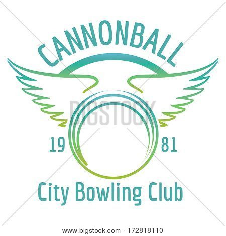Bright bowling club logo with boling ball and wings. Vector bowling banner isolated on white