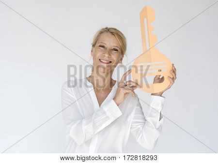 Woman Hold Key Permission Password