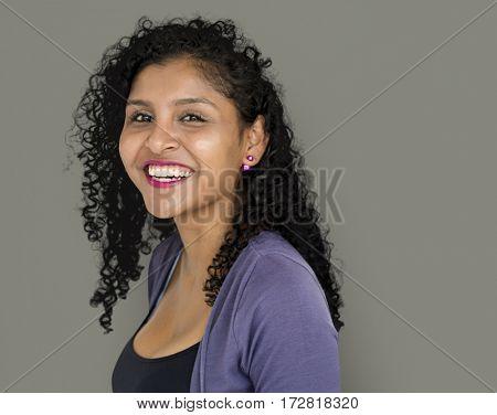 Woman Smiling Happiness Studio Portrait