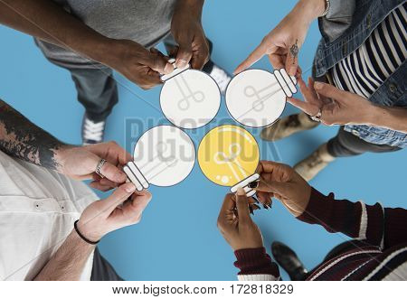 People Holding Paper Light Bulb Icon