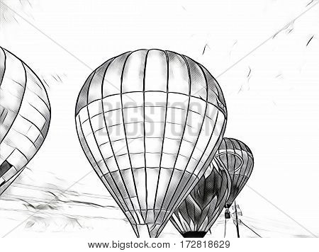 Air balloons flying in the blue sky. Monochrome air balloons float exhibition in countryside field. Romantic travel transport. Sunset sky with flight vehicle. Beautiful sky view with zeppelins sketch