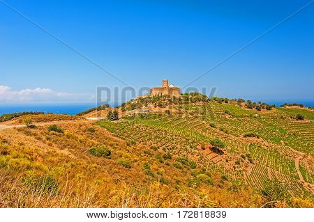 View of hills and Fort Saint-Elme in Collioure, Southern France