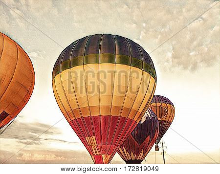 Air balloons flying in the blue sky. Colorful air balloons float exhibition in countryside field. Romantic travel transport. Sunset sky with flight vehicle. Beautiful sky view with air balloons image