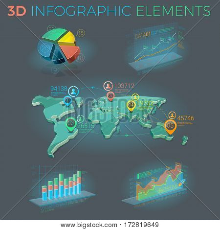 Infographic elements collection, corporate vector 3D illustration.