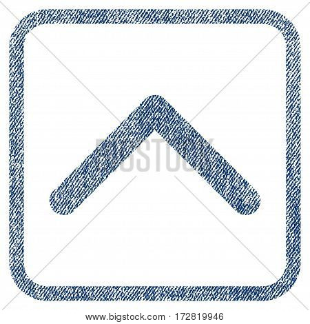 Direction Up vector textured icon for overlay watermark stamps. Blue jeans fabric vectorized texture. Symbol with dirty design inside rounded rectangle.