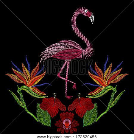 Embroidery stitches with flamingo bird with hibiscus flowers. Vector fashion ornament on black background for textile, fabric traditional folk decoration.