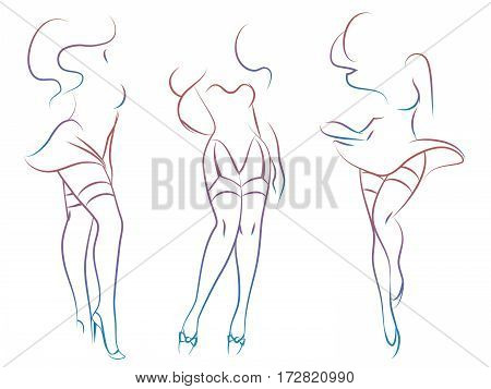 Colorful sexy woman silhouettes design isolated on white background. Vector illustration