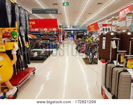 CHIANG RAI THAILAND - FEBRUARY 15 : department store interior view with aisle and various products for sale on February 15 2017 in Chiang rai Thailand.
