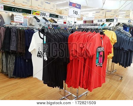 CHIANG RAI THAILAND - FEBRUARY 15 : various brand of garment for sale on supermarket stand or shelf on February 15 2017 in Chiang rai Thailand.