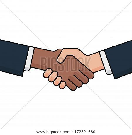 Black and white hands in handshake. No to racism concept isolated on white background. Vector flat illustration