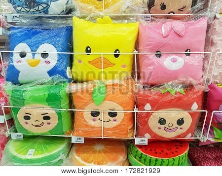 CHIANG RAI THAILAND - FEBRUARY 15 : various brand of lovely pillow for sale on supermarket stand or shelf on February 15 2017 in Chiang rai Thailand.