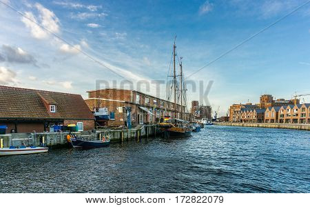 View of Wismar Old harbor with ships and houses